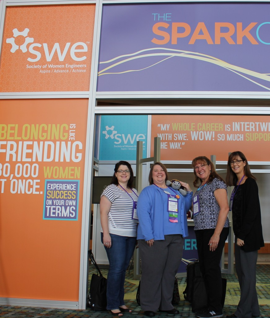 FW SWE members hanging out at the Spark Center
